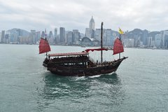 Junk in Victoria Harbor Hong Kong