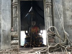 A Buddha in an old temple in Sangklaburi